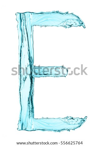 Water splash letter E with light blue color on white background