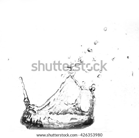 water splash - liquid wet wash splashing clear clean wave white gray black and white background - stock photo