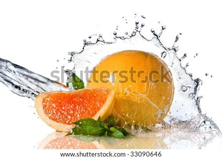 Water splash on orange with mint isolated on white