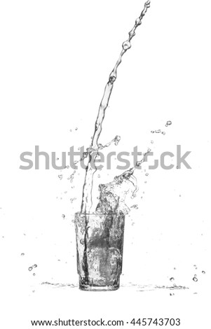 water splash  out of glass on white background.