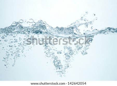 Water splash with bubbles of air, on the white background. - stock photo