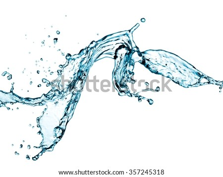 Water splash with drops - stock photo