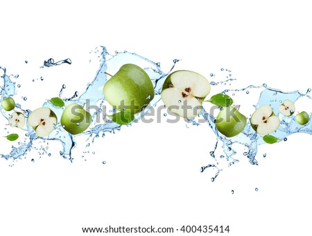 Water splash with fruits isolated on white backgroud. Fresh apple - stock photo