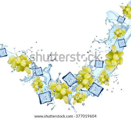 Water splash with fruits isolated on white backgroud. Fresh grape - stock photo