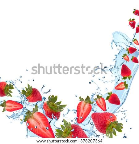 Water splash with fruits isolated on white backgroud. Fresh strawberry - stock photo