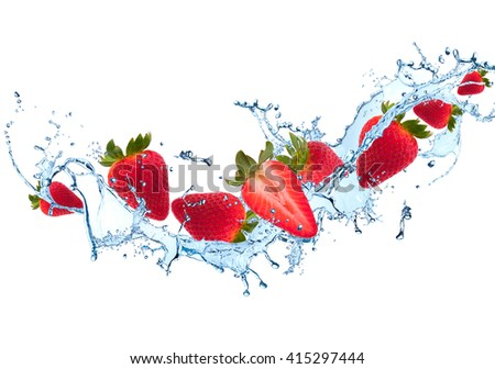 Water splash with fruits isolated on white background. Fresh strawberry