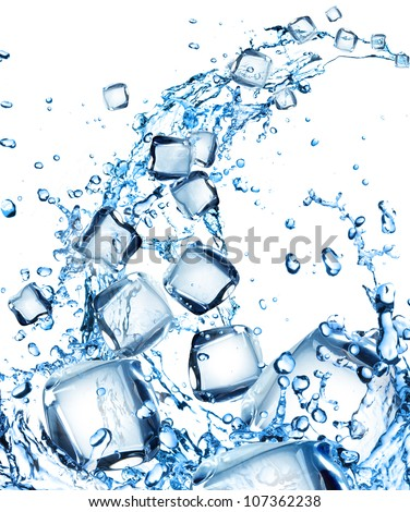 Water splash with ice cubes - stock photo