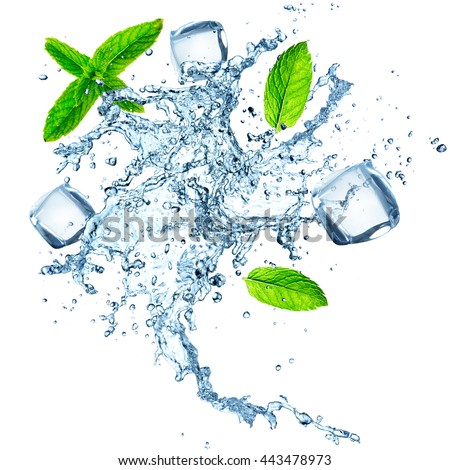 Water splash with ice cubes isolated on white background, close-up.