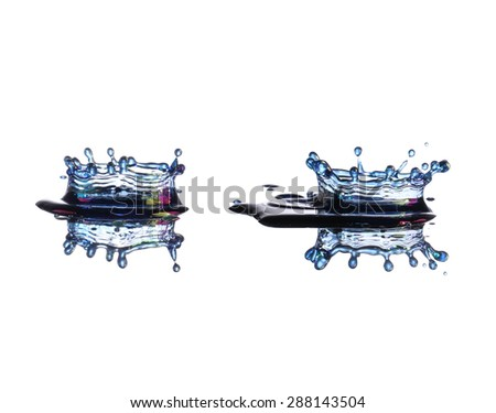 Water splash with reflection, isolated on white background - stock photo