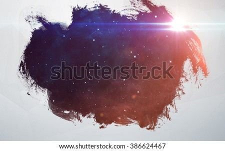 Water splashes at deep space background. Artistic design for cards and posters. Elements of this image furnished by NASA.