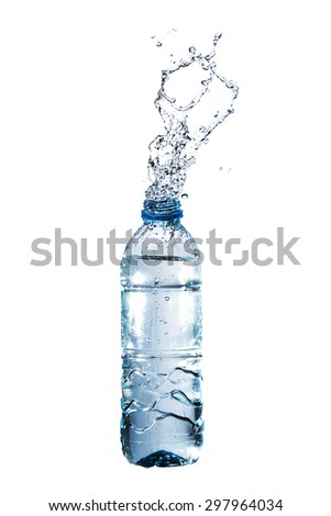Water splashes from a plastic bottle. Isolated on white