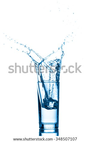 Water splashes in the glass isolated on white