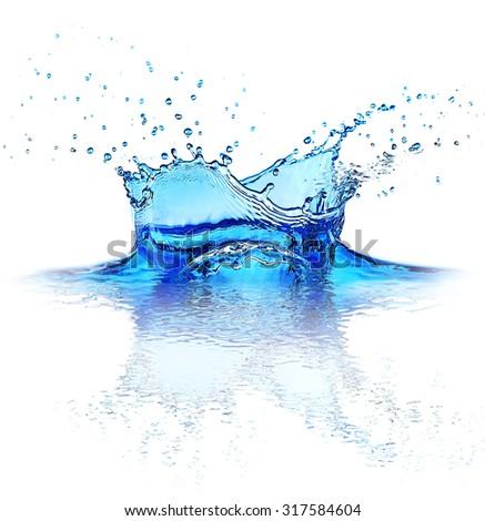 Water splashes isolated on white - stock photo