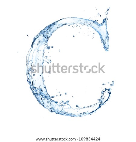 "Water splashes letter ""C"" isolated on white background"