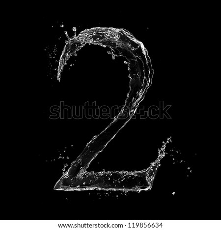 "Water splashes number ""2"" isolated on white background - stock photo"