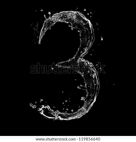 "Water splashes number ""3"" isolated on white background - stock photo"