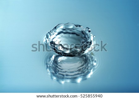 Water splashing droplets with ripples ,Blue Tone