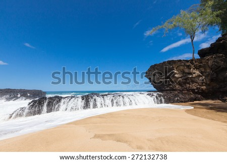 Water splashing over volcanic rock ledge on a beautiful, serene beach under a blue, sunny sky. Tree growing on rock bolder rising out of light, beige sand. Simple composition with room for copy.
