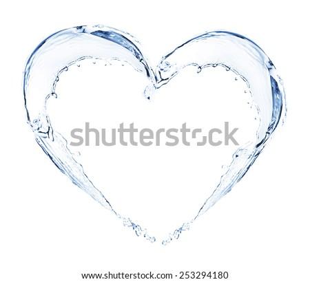 Water splashing shaped as heart frame isolated on white - stock photo