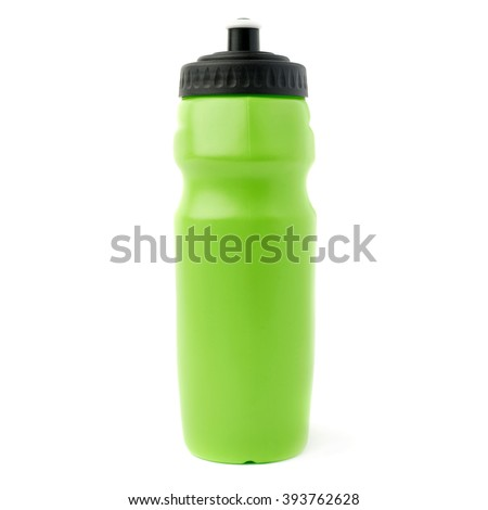 Water sport plastic green bottle isolated over the white background