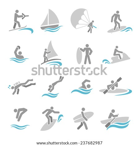 Water sports icons set with rowing rafting swimming people isolated  illustration