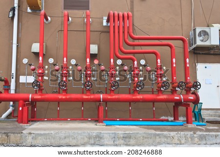 water sprinkler and fire alarm system, water sprinkler control system - stock photo