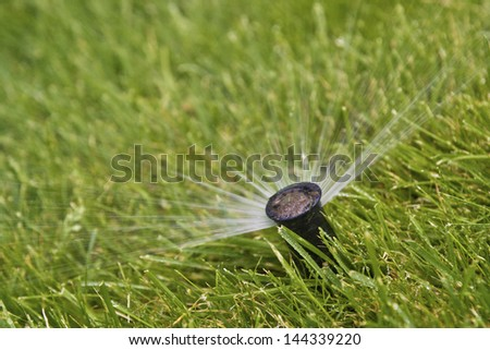 Water sprinkler in the grass, close up image with selective focus. - stock photo
