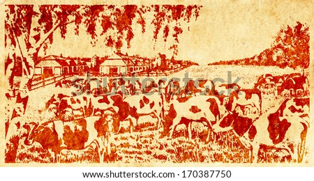 Water stain mark imprint of a herd of dairy cow in a farm on a retro paper parchment.