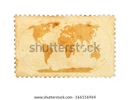 Water stain mark in the shape of a world map on an old vintage brown paper stamp.  - stock photo
