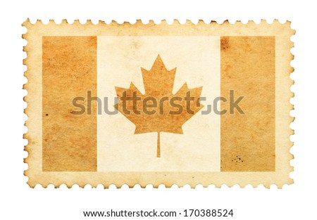 Water stain mark of Canada flag on an old retro brown paper postage stamp.  - stock photo