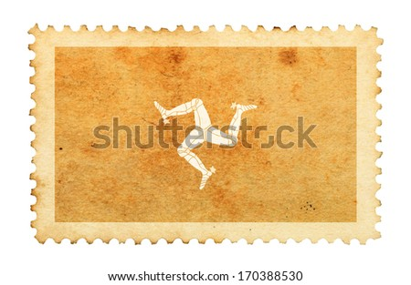 Water stain mark of Isle of Man flag on an old retro brown paper postage stamp.  - stock photo