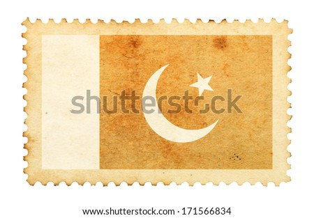 Water stain mark of Pakistan flag on an old retro brown paper postage stamp.  - stock photo