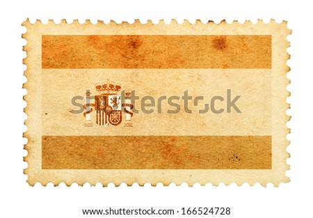 Water stain mark of Spain flag on an old retro brown paper postage stamp.  - stock photo