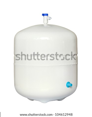 Water storage tank for water filtration RO (reverse osmosis) system - stock photo