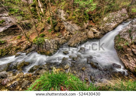 water stream and rocks, grunge wide view