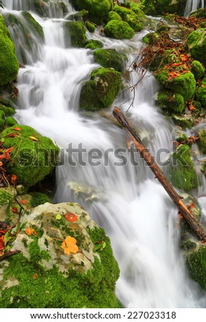 Water stream flowing over the rocks moss and leaves in autumn - stock photo