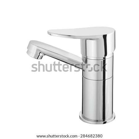 water-supply faucet mixer for water - stock photo