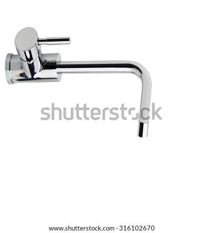 water-supply faucet mixer for water isolated on white - stock photo