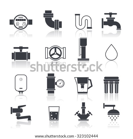 Water supply icons black set with sink bathtub bathroom accessories isolated  illustration