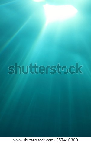 Water surface and sunlight underwater in the ocean
