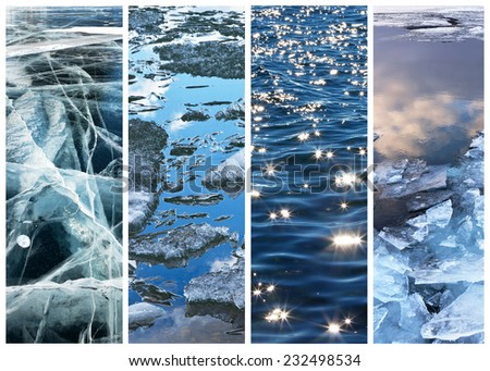 Water surface of Lake Baikal at different times of the year. Collage. Four seasons. Natural backgrounds - stock photo