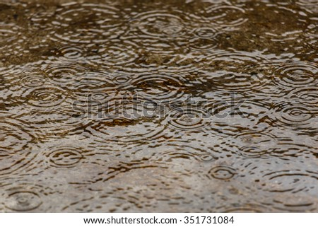 Water surface with rain drops falling