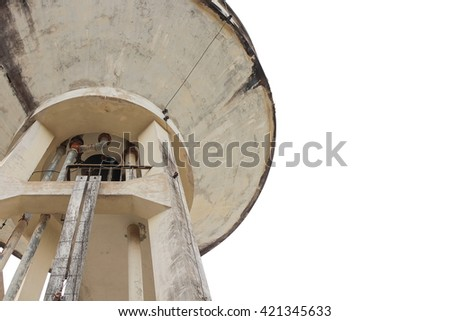 Water tank old for agriculture on white background