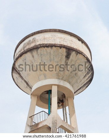 Water tank old for agriculture with blue sky background
