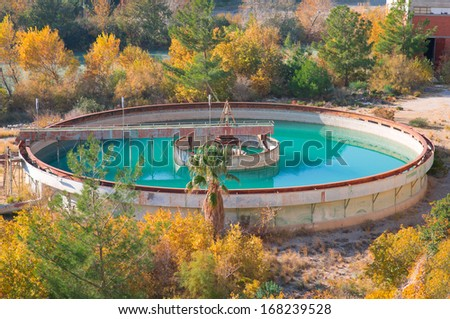 Water tanks in the wastewater treatment processing  - stock photo