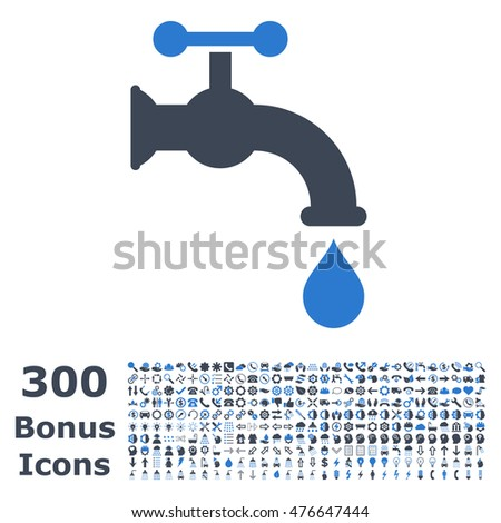 Water Tap icon with 300 bonus icons. Glyph illustration style is flat iconic bicolor symbols, smooth blue colors, white background.
