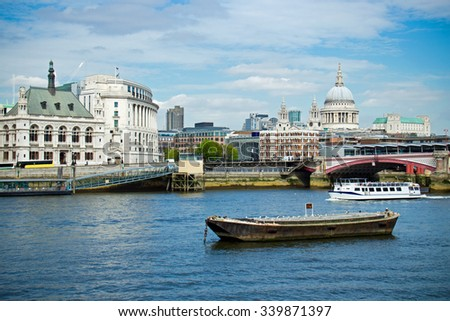 Water taxi transportation on River Thames in London, UK
