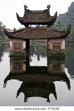 Water temple and its reflection