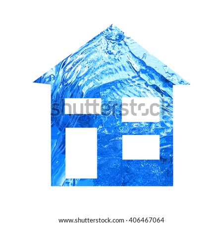 Water textured house isolated on white - stock photo