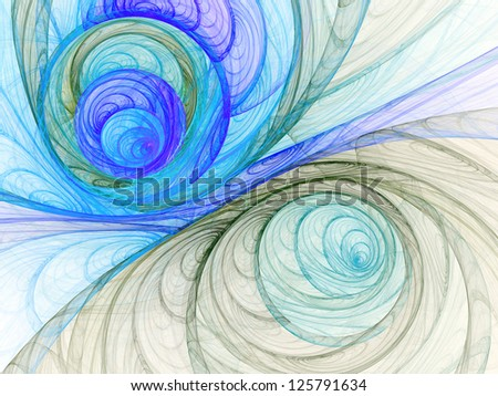 Water themed abstract lines, digital fractal art design - stock photo